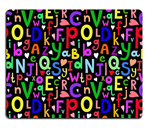 Luxlady Gaming Mousepad IMAGE ID: 33728906 Vector seamless pattern with Latin letters of different sizes on dark background in a cartoon style children s illustration with alphabet