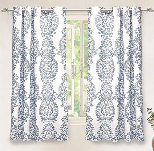 "DriftAway Samantha Thermal/Room Darkening Grommet Unlined Window Curtains, Floral/Damask Medallion Pattern, Set of Two Panels(52""x63"", Blue)"