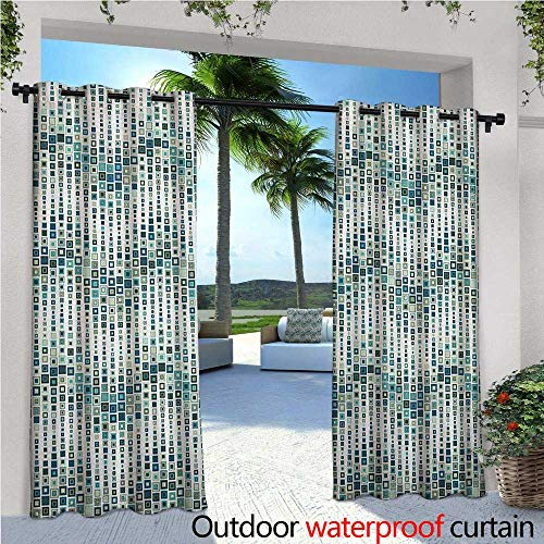 (familytaste Geometric Indoor/Outdoor Single Panel Print Window Curtain Wave Shape Geometric Figures Color Tile Mosaic Artistic Composition with Squares Silver Grommet Top Drape W120 x L108 White)