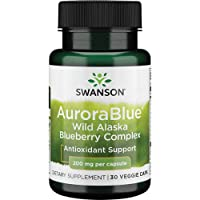 Swanson Made with Certified Organic Blueberries Aurorablue 200 Milligrams 30 Veg Capsules