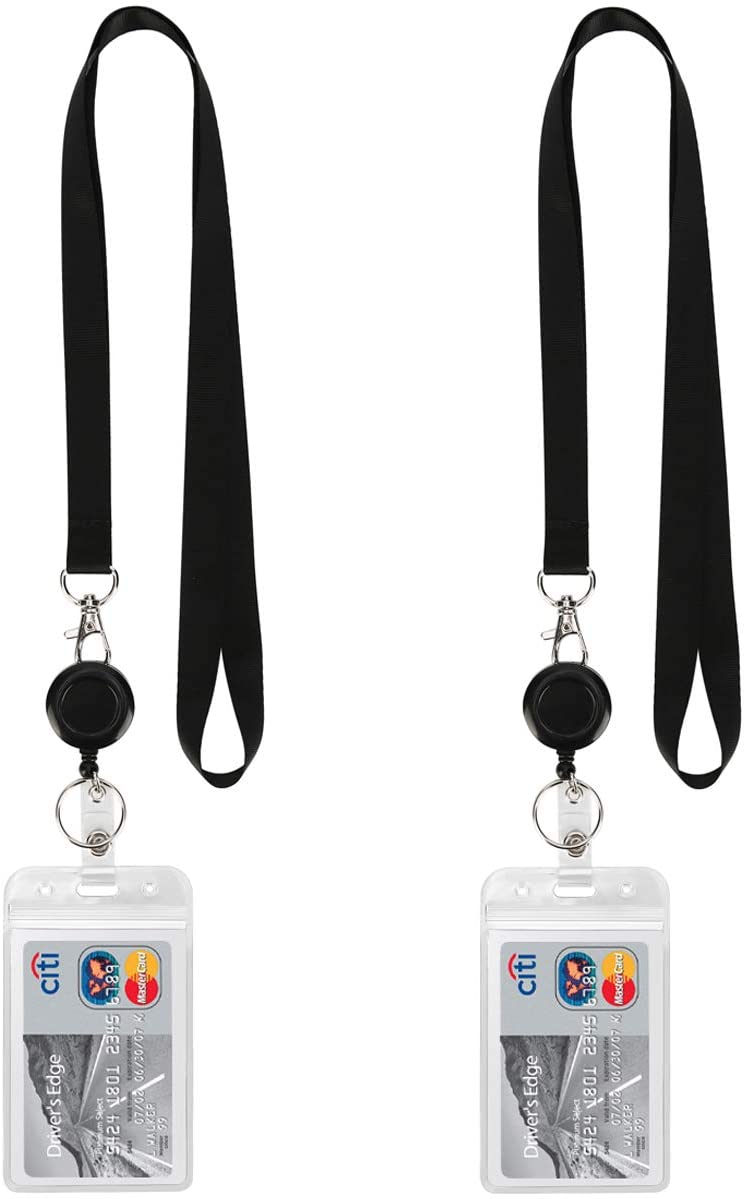 2-Sided Card Badge Holder Reel Retractable Lanyard For Credit ID Card Name Tag G