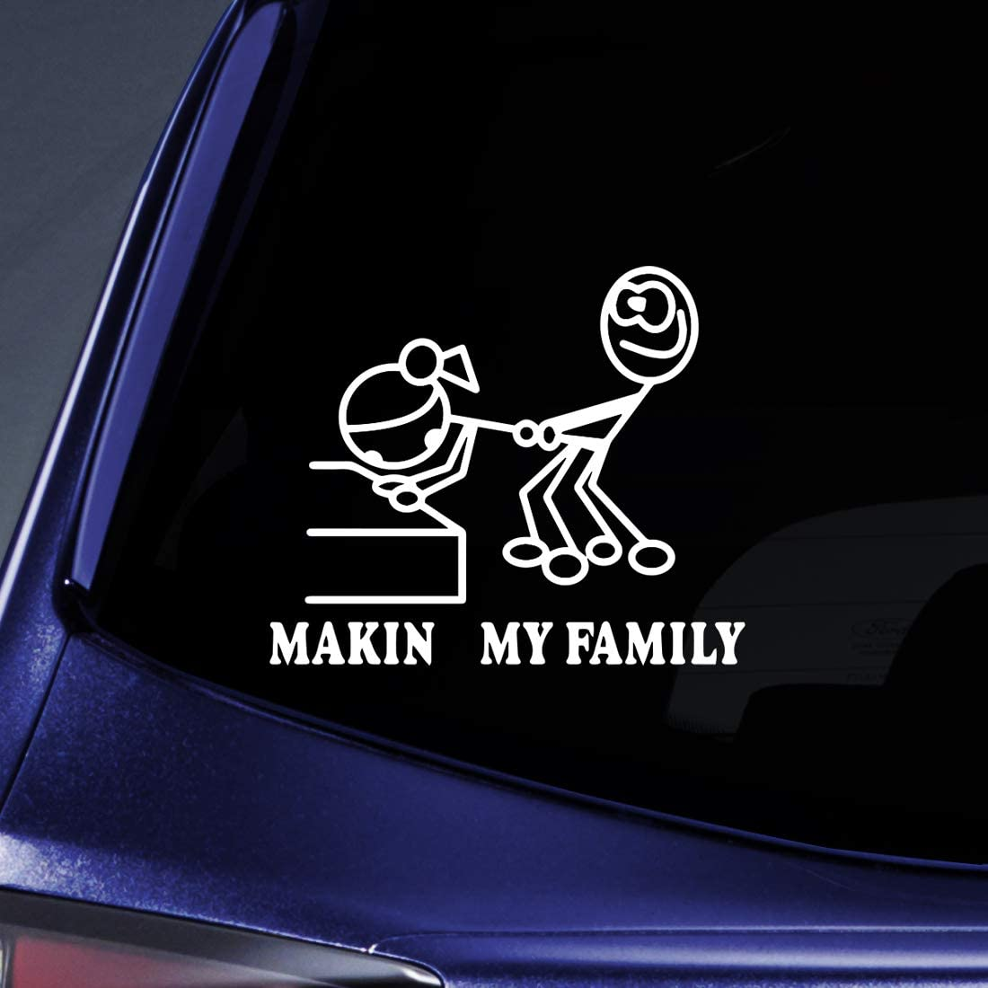 "Bargain Max Decals - Making my Family Parody Funny Sticker Decal Notebook Car Laptop 6"" (White)"