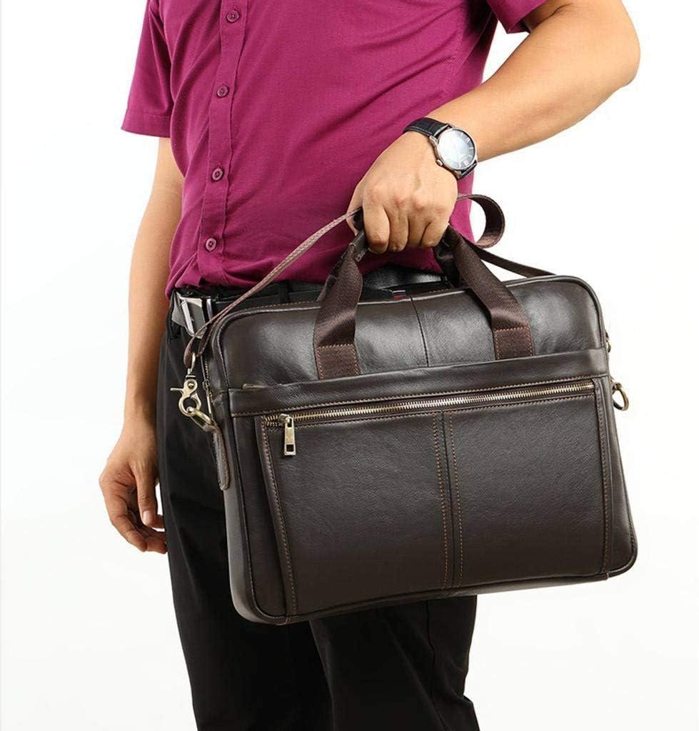 Laptop Messenger Bag Waterproof Computer Leather Satchel Briefcases Vintage Shoulder Bag Large Work Bag for Men Work Travel-Deep Coffee