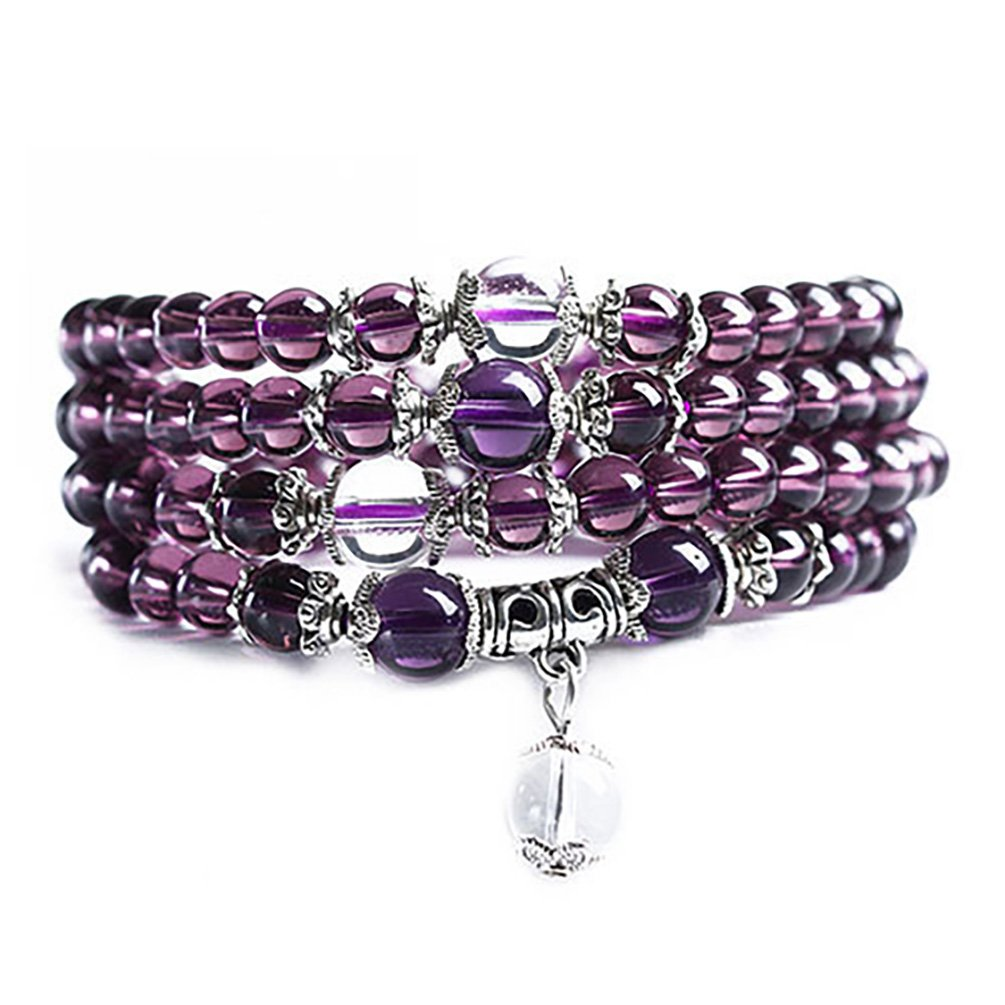 Ameesi 6mm Crystal Stone Buddhist Amethyst 108 Prayer Beads Mala Bracelet Necklace