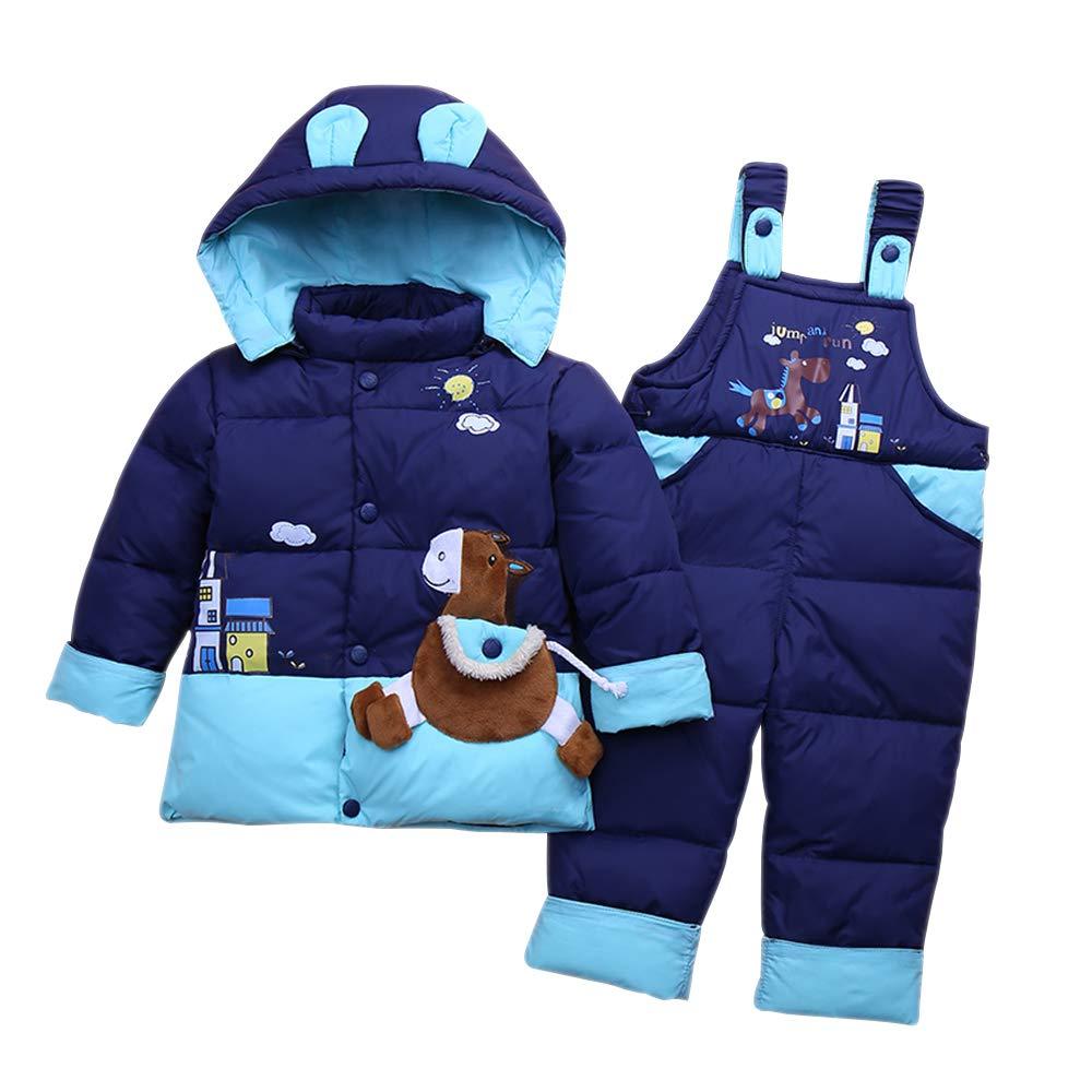 DAZISEN Kinder Daunenanzug Set - Winter Bekleidungsset 2tlg Junge Mädchen Mit Kaputze Verdickte Jacke + Kind Daunenhose
