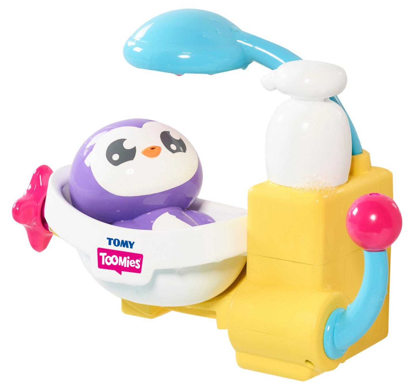 TOMY E72610C Toomies Peryn's Shower & Scrub - Penguin Bubble Bath Toy - Suitable From 18 Months