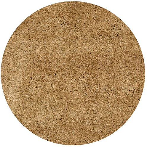 KAS Oriental Rugs Bliss Collection Round Shag Area Rug, 8', Gold (Round Gold Shag Rug)