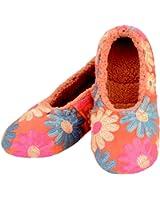 Snoozies Womens Sequin Daisy Ballerina Cozy Sherpa Non Skid Slipper Socks