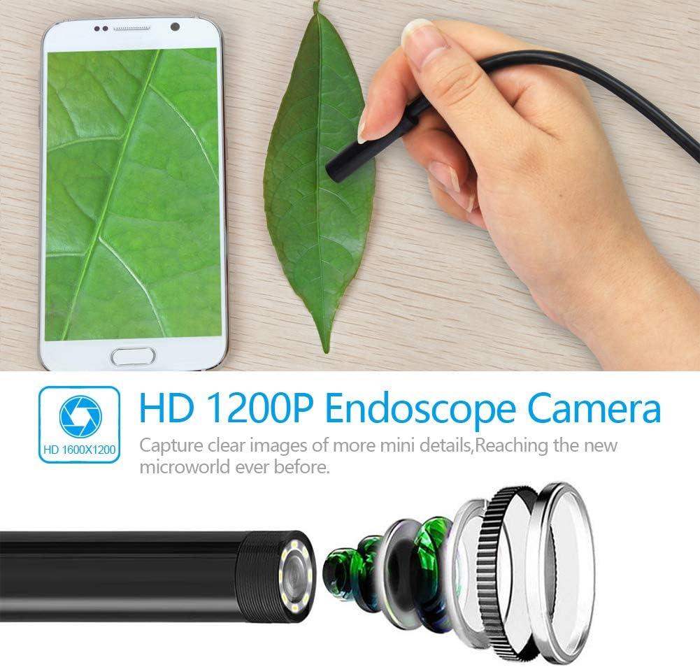 N//P Endoscopio para Android iPhone WiFi USB Camara Inspeccion 2.0 Mega Pixeles 1200P HD Boroscopio Movil IP68 Endoscopio Portatil para iOS Samsung Huawei Smartphone Tableta