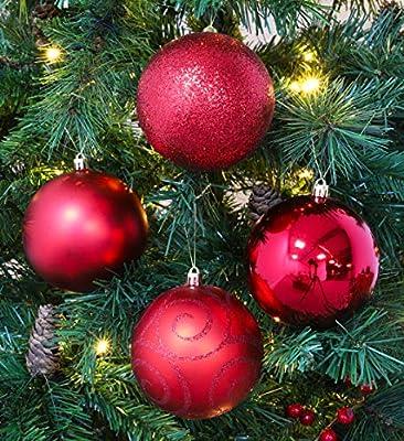 Christmas Concepts® Pack of 5 - Adornos de árbol de Navidad Extra Grandes de 100 mm - Adornos Brillantes, Mate y con Brillo (Rojo): Amazon.es: Hogar