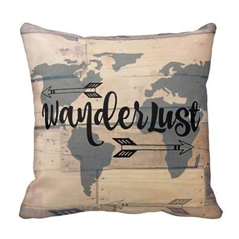 Best J Mejor J: Wanderlust - Funda de cojín de Madera ...