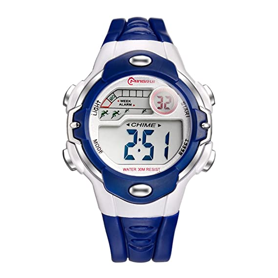 [Niño] Reloj Digital Niña Niño Impermeable multifunción Deportivo Reloj de Goma Pin Hebilla Correa -C: Amazon.es: Relojes