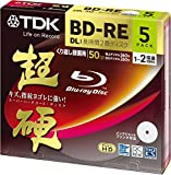 TDK 50GB 2X BD-RE DL Rewritable Printable Blu-ray Disc with Jewel Case (5-Pack)