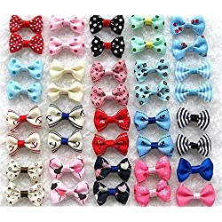 BHBY 20pcs Puppy Dog Hair Clips Small Bowknot with Tiny Alligator Clips Mix Colors Varies Patterns