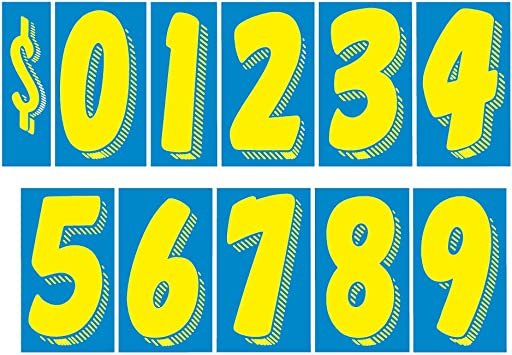 """You Pick 7 1//2/"""" Blue White Numbers Car Dealer Windshield Pricing Stickers"""