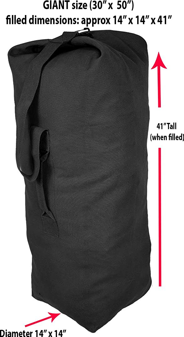 "NEW ARMY STYLE BLACK HEAVY DUTY CANVAS KIT BAG XLARGE 14/"" DIAMETER BASE"