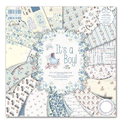 "Trimcraft First Edition It's a Boy Premium Paper Pad 12""x12"" 48 Sheets (FSC), 12x12, Multicolor"
