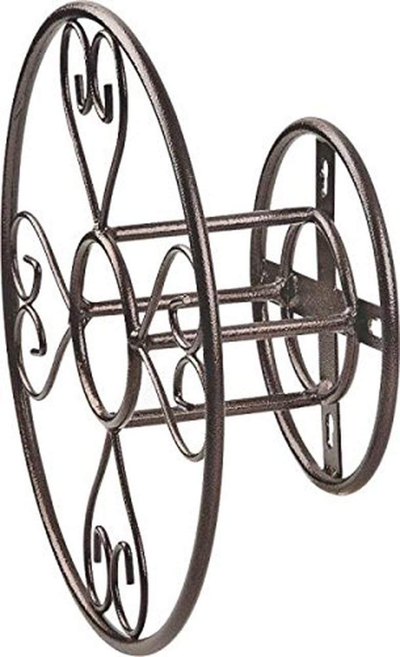 Rocky Mountain Goods Wall Mount Decorative Hose Hanger - Heavy Duty Steel with Powder Coated Decorative Brown Finish - Includes Installation kit - Holds up to 150 feet of Hose - Rust Resistant