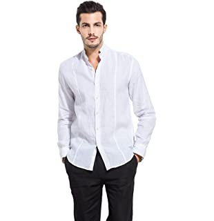 6fcaa30ce5b UAISI Men Linen Shirt Short Sleeve Casual Loose Shirt  Amazon.co.uk ...
