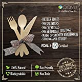 Disposable Wooden Cutlery Set - 300 Pieces 100 Spoons 100 Forks & 100 Knives | For Parties Camping Picnics Weddings BBQ Birthdays Beach | Eco Friendly Biodegradable Compostable Utensils Combo Pack