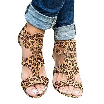 4d7b49a13a00 LEERYAAY Women Sandals Summer Wedges Leopard Casual Shoes Strap Gladiator  Roman Sandals