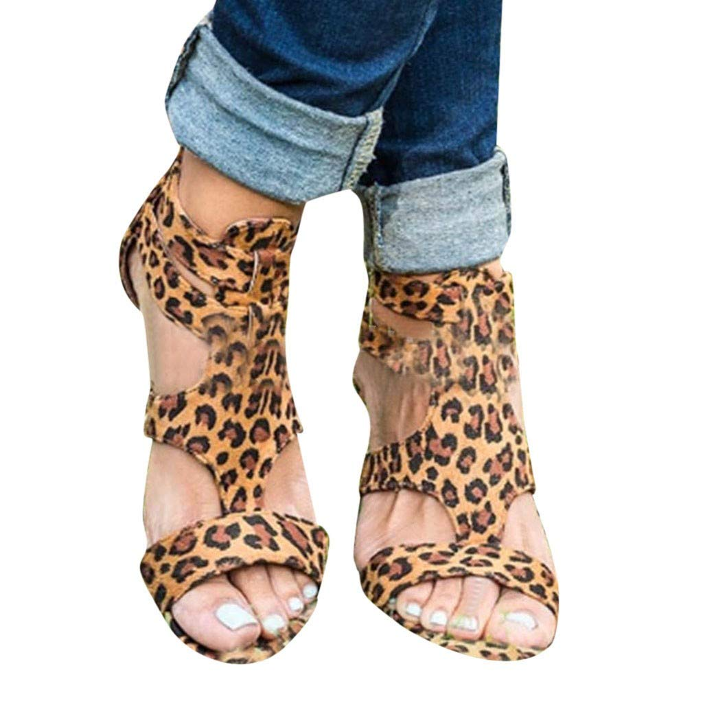Tsmile Women Sandals Summer Leopard Print Wedges Gladiator Roman Sandals Casual Buckle Shoes Plus Size