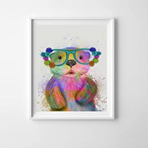 HYD Art Nursery Otter Animal Canvas Poster Art Prints 8 x 10 Inches,No Frame