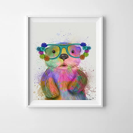 """print of original painting Watercolour otter in 10/"""" x 8/"""" Mount"""