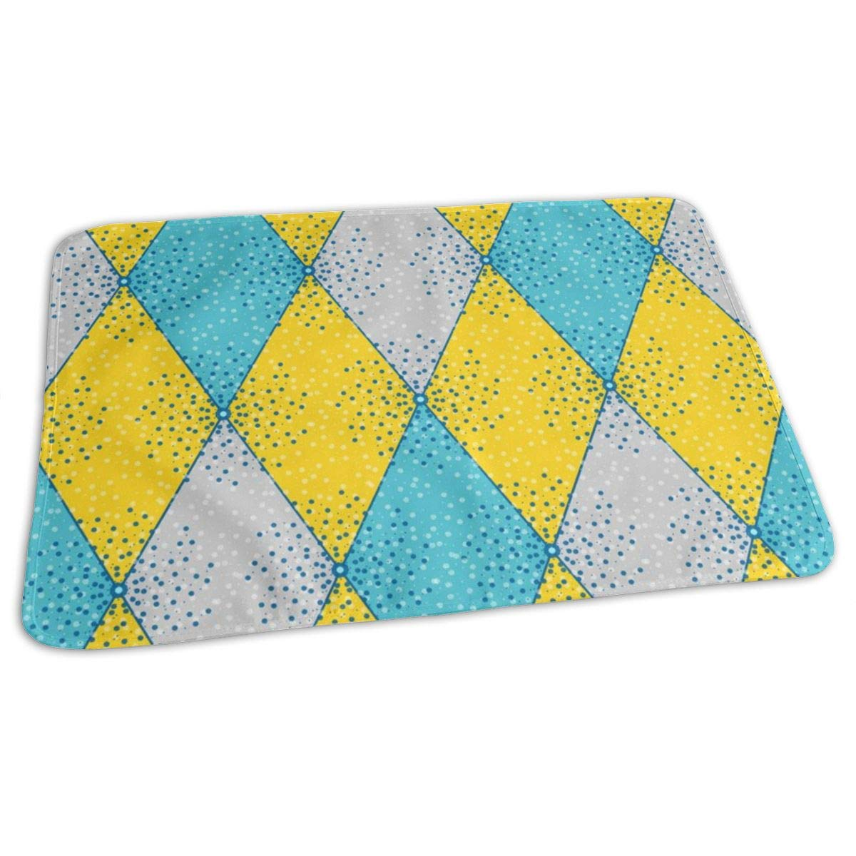 Harlequin Diamonds In Yellow, Gray, Aqua For Small Bunting Baby Portable Reusable Changing Pad Mat 19.7x27.5 inch