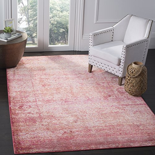 Safavieh Mystique Collection MYS920P Vintage Watercolor Overdyed Fuchsia and Multi Distressed Area Rug (8' x - 8' Fuschia Area Rug