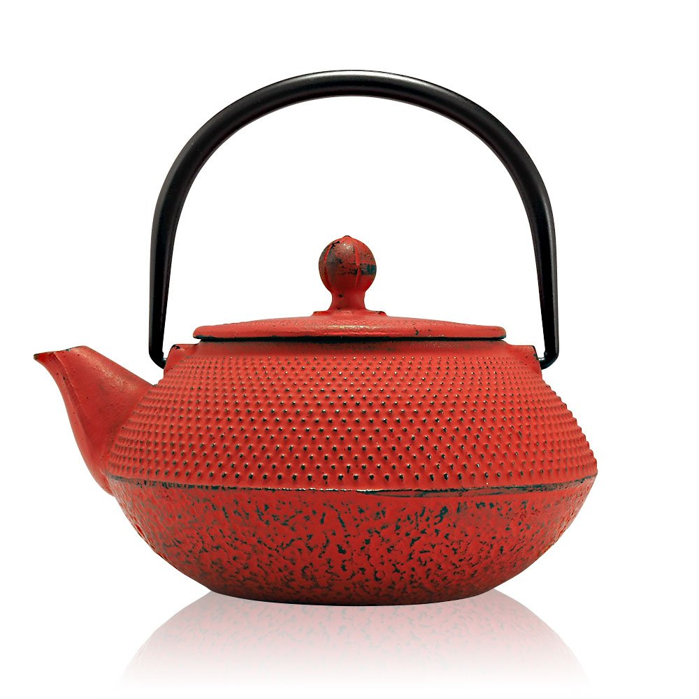 Black Tenshi Cast Iron Teapot, Infuser, 600ml (2 Cup Size), Japanese Style Tetsubin Teapot, Kettle The Exotic Teapot