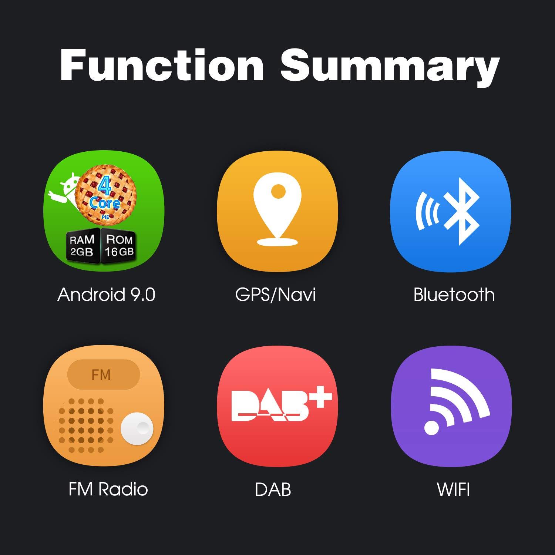 4G Mirror-Link Pumpkin 9 Pulgada Android 9.0 Autoradio para VW Micro SD 2 DIN Coche Est/éreo Radio con GPS navegador soporta Bluetooth Control Volante WiFi USB