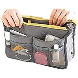 Hee Grand Women's Handbag Organiser Liner Tidy Travel Cosmetic Pocket Insert 12 Pockets Large Gray