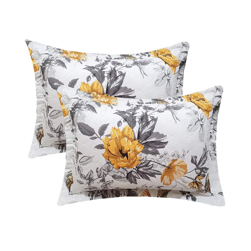 VITALE 3 Pieces Twin Size Bedspreads Coverlet Set,Vintage Floral Birds Quilts Twin with Standard Pillow Shams,Lightweight Bedspread Chinese Painting Countryside Blanket-Yellow White