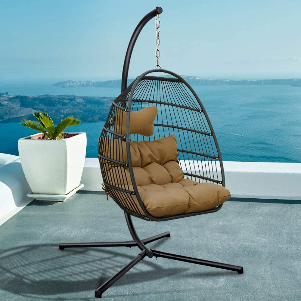Amazon Com Tome Foldable Swing Chair With Stand Rattan Wicker Hanging Egg Chair Hammock Chair With Cushion And Pillow For Indoor Outdoor Bedroom Patio Garden Beige Garden Outdoor