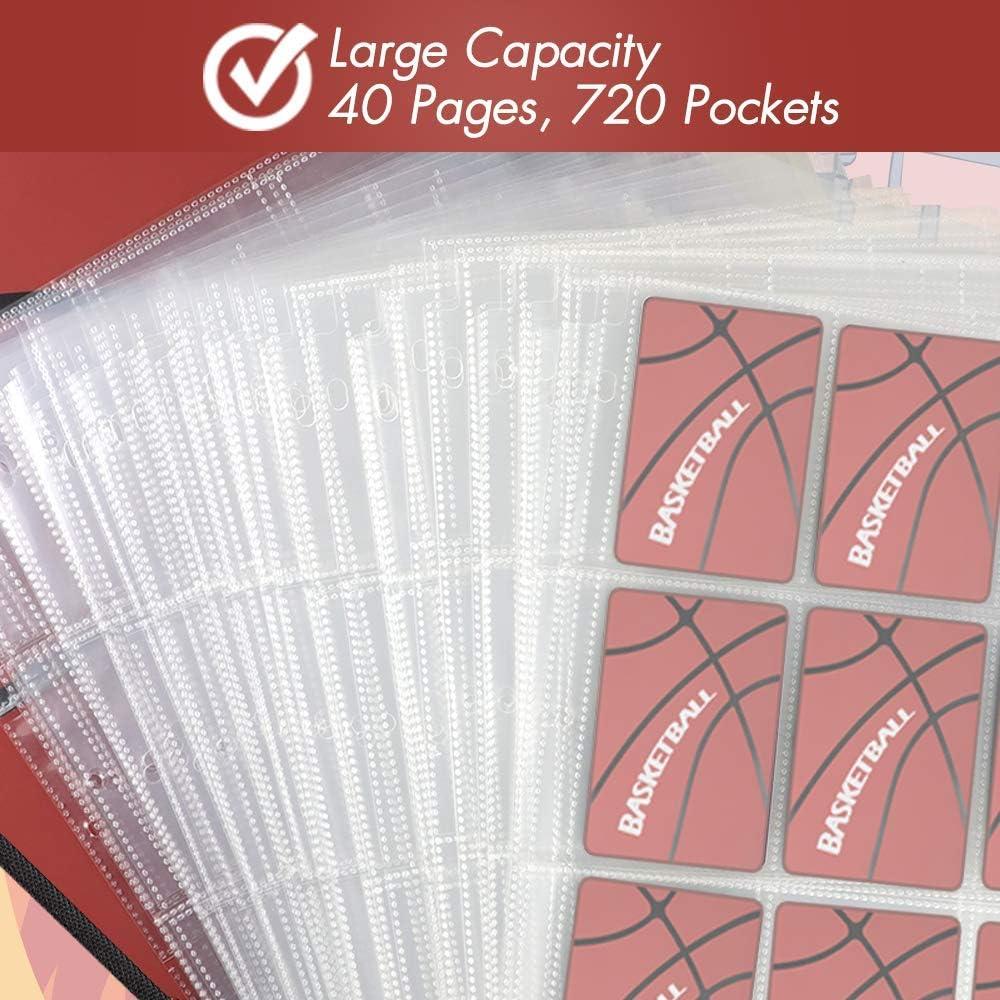 KITOYZ 720 Pockets Basketball Binder Sleeves Carrying Case with Basketball Card Sleeves Card Holder Album Protectors Set for Football Baseball and Sports Card