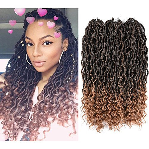 Price comparison product image 6Packs 18Inch Wavy Faux Locs with Curly End Crochet Braids Twist Hair 24Strands/Pack Synthetic Goddess Curly Faux Locs With Free End Crochet Braiding Hair Extensions (T27)