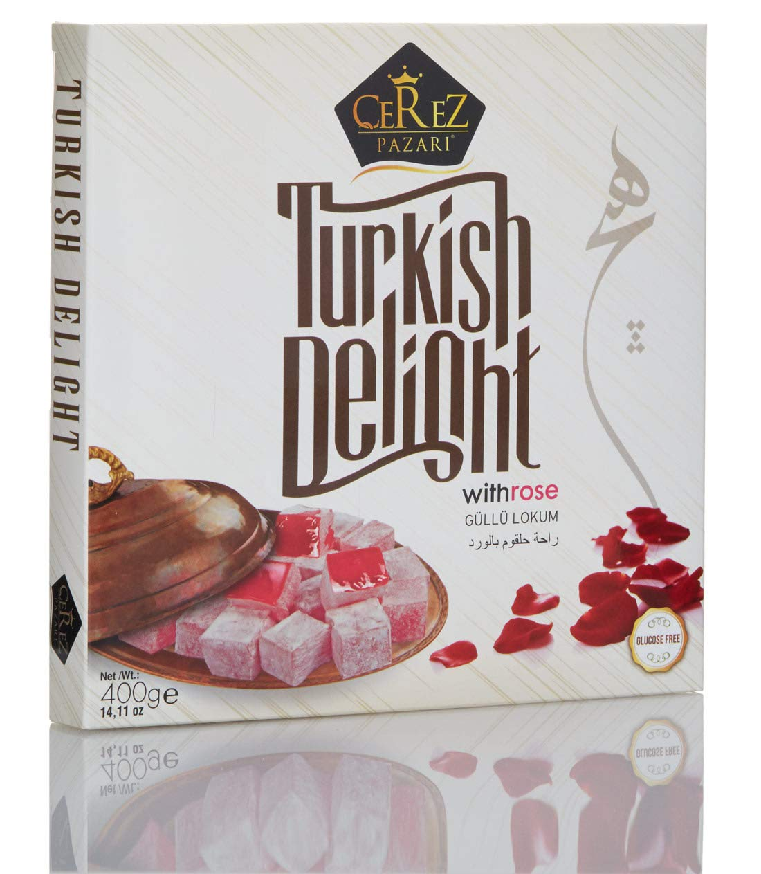 Cerez Pazari Turkish Delight with Rose Flavour 400 gr Gourmet Medium Size Snacks Gift Box | No Nuts Sweet Luxury Traditional Confectionery Vegan Soft Candy Dessert Glucose Free Lokum Approx.40 Pcs