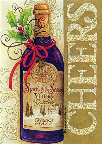 Cheers Wine Bottle - Box of 18 Christmas Cards