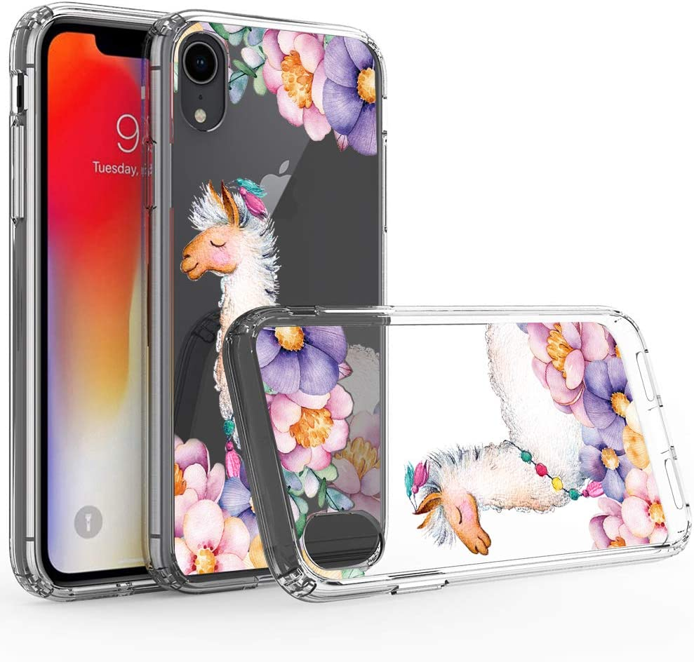 Ftonglogy Pink Llama Flower Cute Girls Floral Design Clear Flower Pattern for Girls Women Phone Case for iPhone XR