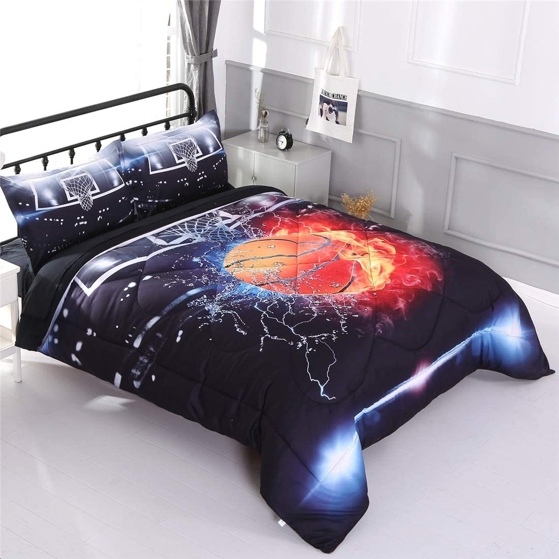 Tencel Cotton Fabric with Soft Microfiber Fill Bedding Home College School Dorm Room Decor Cool Basketball Pattern Print Bedding Set for Boys and Girls Luxury Quilted Comforter Set - Queen Black