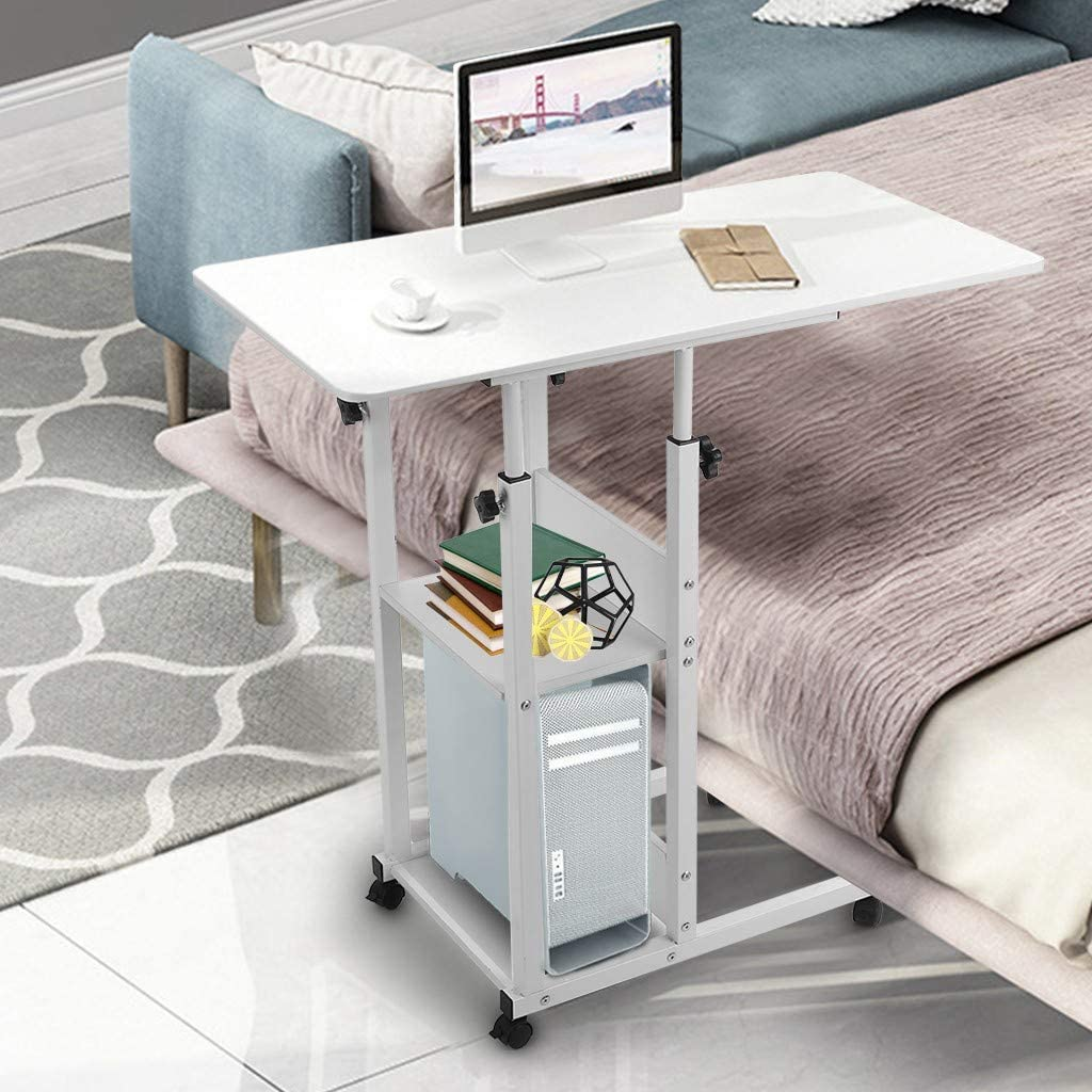 Ninasill Snack Side Table, Mobile End Table Height Adjustable Bedside Table Laptop Rolling Cart C Shaped TV Tray with Storage Shelves for Sofa Couch (White)