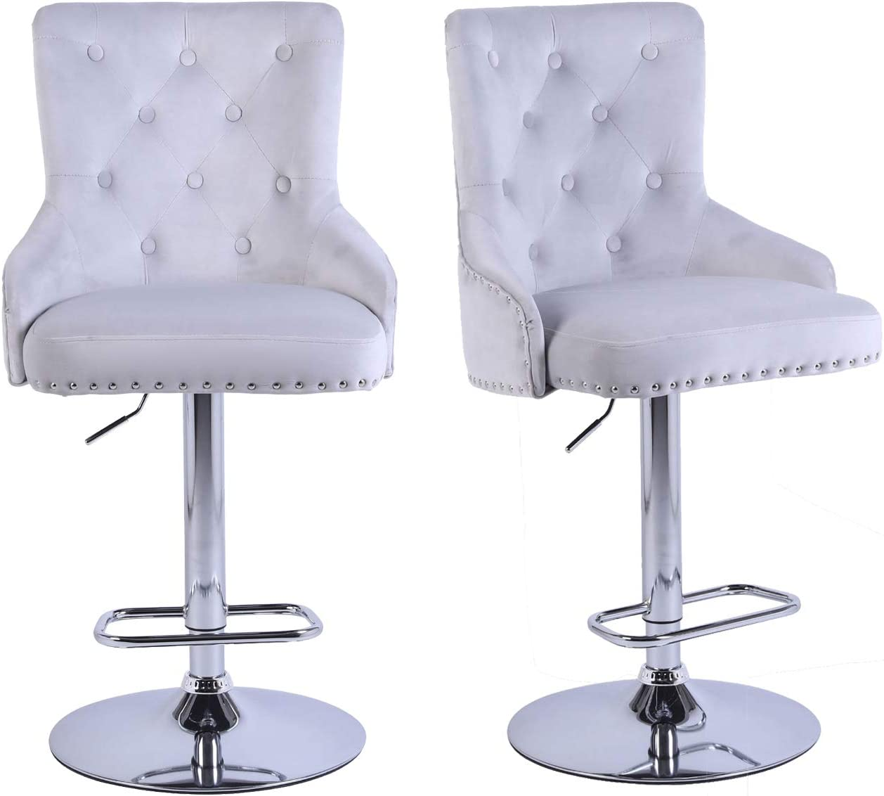 Bar Stools Set of 2 Counter Height Adjustable Swivel Bar Stool