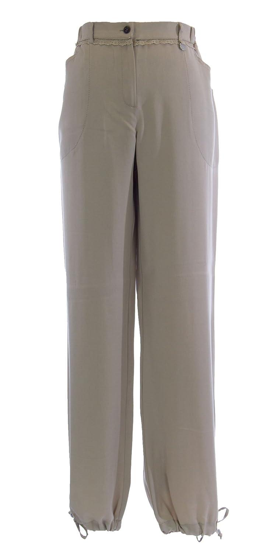 MARINA RINALDI by MaxMara Beetowen Beige Lace Trim Dress Pants