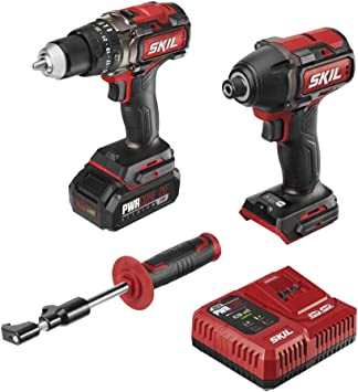 Skil 2 Tool Combo Kit Pwrcore 20 Brushless 20v 1 2 Heavy Duty Hammer Drill Cordless Impact Driver Includes 2 0ah Lithium Battery Pwrjump Charger Cb743801 Amazon Com