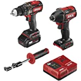 """SKIL 2-Tool Combo Kit: Pwrcore 20 Brushless 20V 1/2"""" Heavy Duty Hammer Drill & Cordless Impact Driver, Includes 2.0Ah Lithium"""