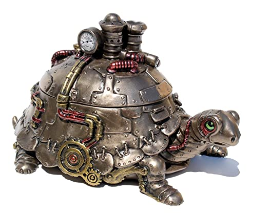 Veronese Steampunk Tortoise Turtle Trinket Box Cold Cast Bronze Statue