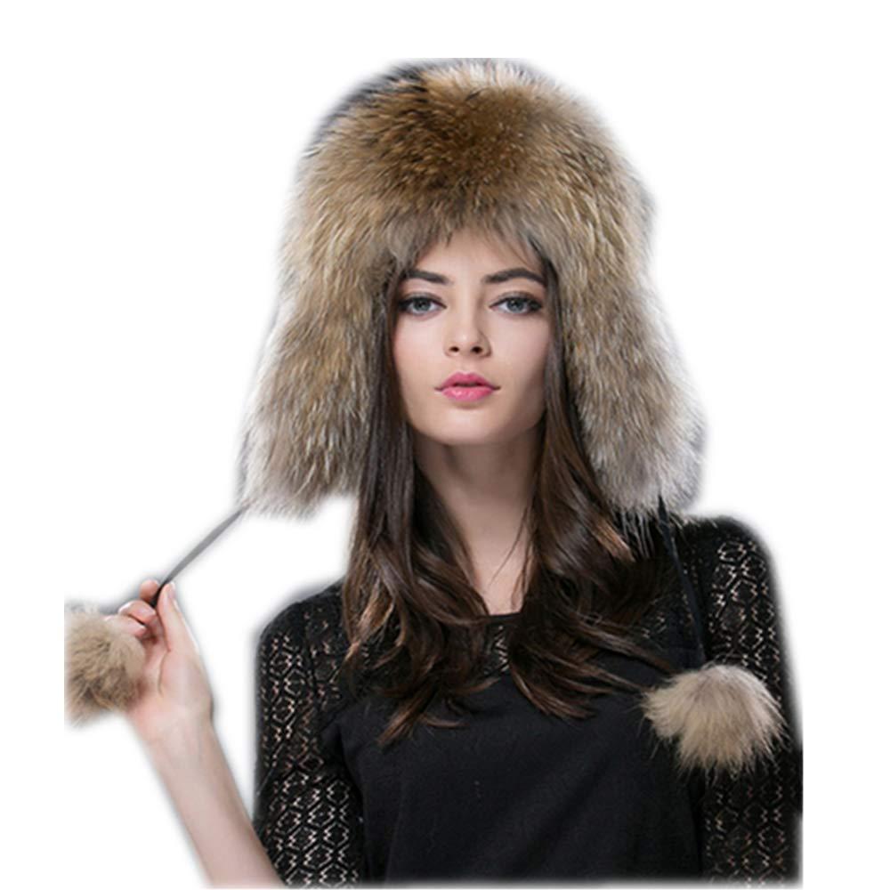 Gegefur New Russia Hot Fox Fur Hat Fashion Winter Warm Raccoon Bomber Fox Fur Hat (Raccoon Color)