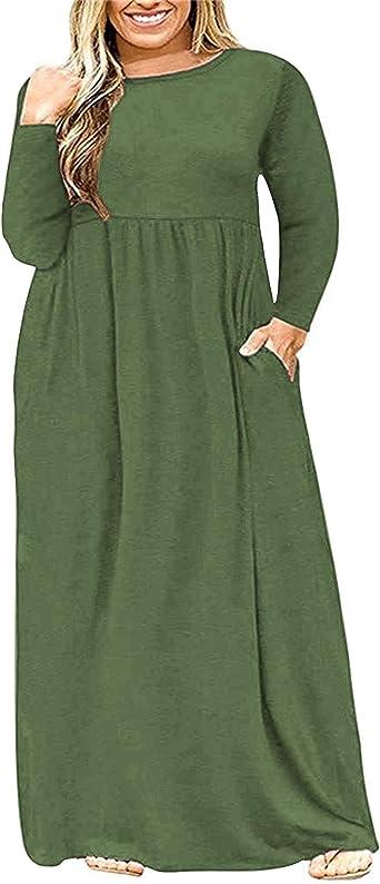 Womens Simple Plain Knee Length Pockets Dresses Long Sleeve Crew Neck Loose Tops Dress Plus Size