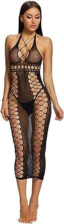 JAZZUP Women Fishnet Bodystocking Bodysuit Babydoll Lingerie High Elasticity Sleepwear Tight Nightwear Plus Size Mesh Lingerie Black Large